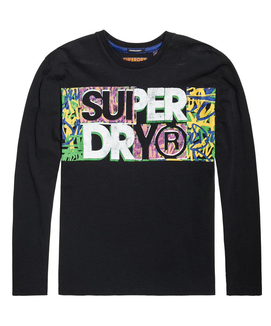 Black Acid Pacifica Oversize Long Sleeve T-Shirt Sale - superdry
