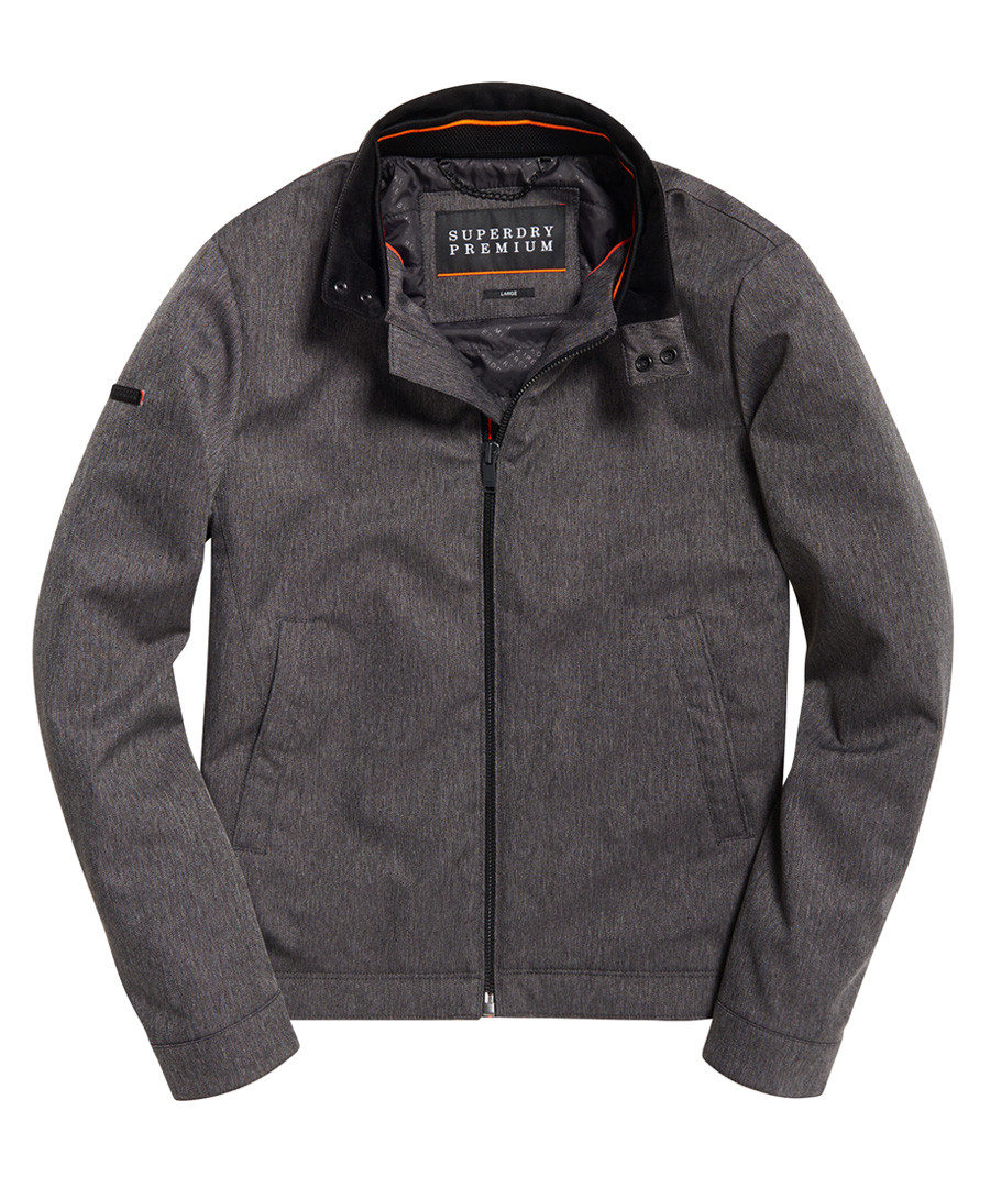 Heather Grey Herringbone Premium Casual Harrington Jacket Sale - superdry