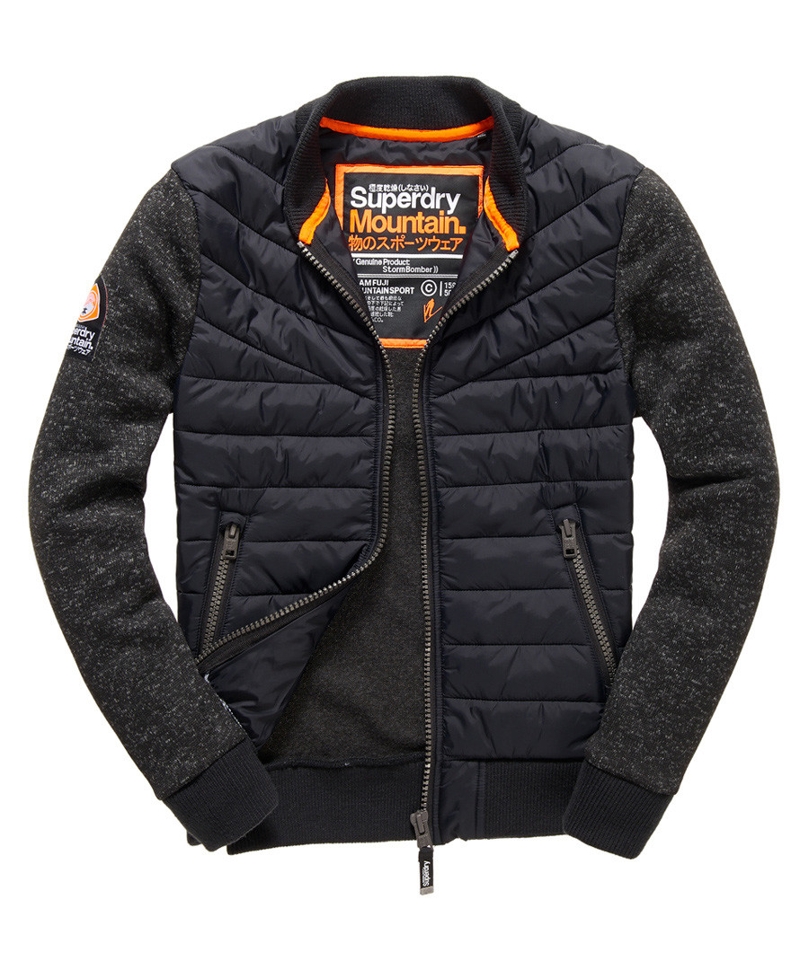 Gritty Black Moody Night Flight Lite Bomber Jacket Sale - superdry
