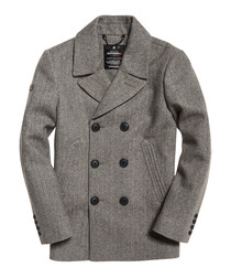Grey Herringbone Rookie Merchant Line Peacoat