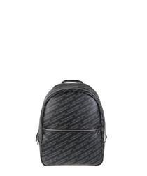 Black printed zip pocket backpack