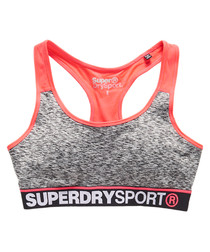 Charcoal Grit Superdry Gym Panel Sports Bra