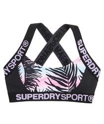 Tropical Vibe Print & Black Sd Sport Colourblock Printed Bra