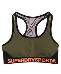 Khaki & Black Superdry Sport Layer Bra