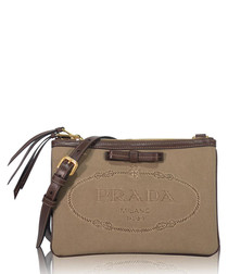 Brown leather trim logo crossbody