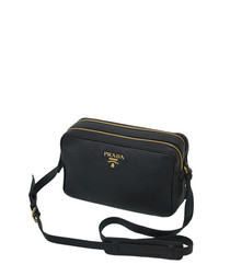 Black leather double-zip camera bag