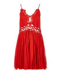 Ilektra red lace trim mini dress