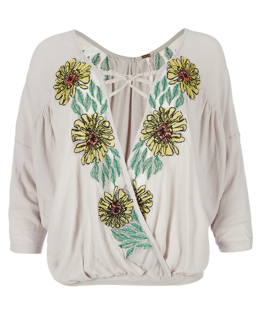 Gotta Love It neutral printed top Sale - free people