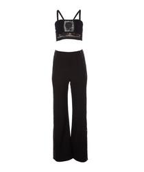 2pc Bella black top & trousers set