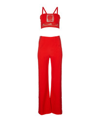 2pc Bella red top & trousers set