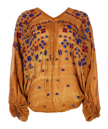 Music In Time brown embroidered top