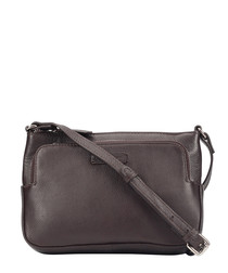Dark claret leather zip-up pocket crossbody