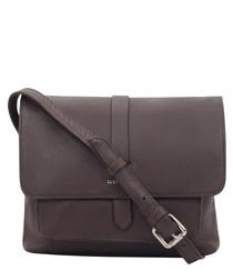 Chocolate brown leather crossbody
