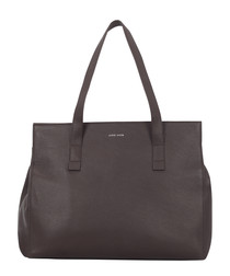 Chocolate brown leather large tote