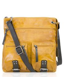 Yellow & brown leather crossbody
