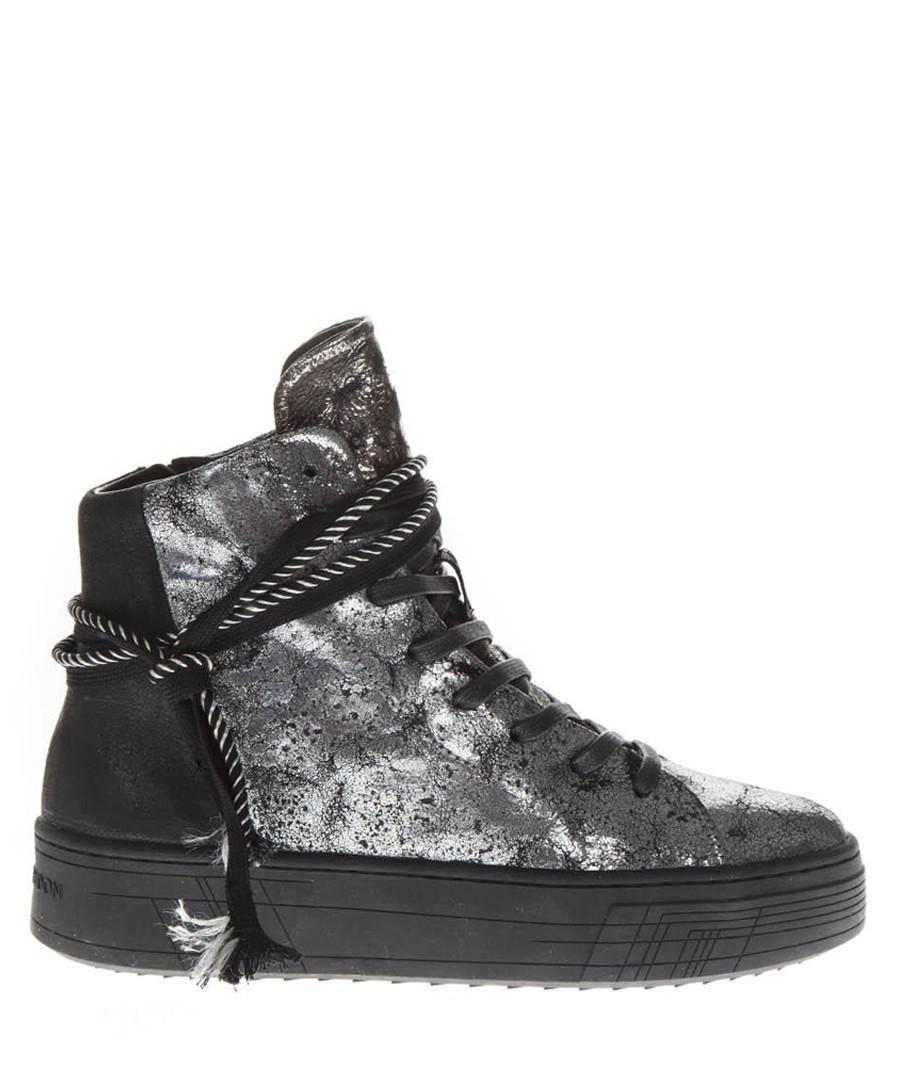 Silver-tone leather hi-top sneakers Sale - crime london