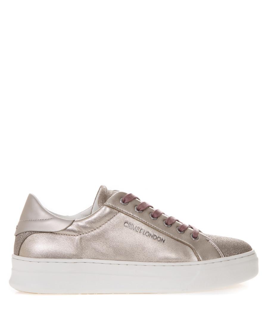 Platinum metallic leather sneakers Sale - crime london