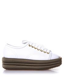 Diva white leather platform sneakers