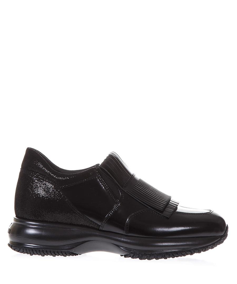 Black brushed leather sneakers Sale - hogan