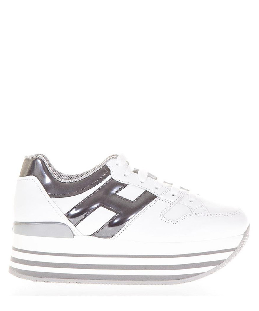 White & silver-tone leather sneakers Sale - hogan