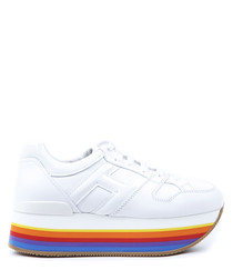 Maxi H222 white & multi leather sneakers