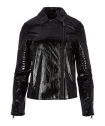 Aimee patent black leather jacket