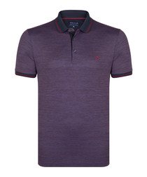 Bordeaux & indigo cotton blend polo top