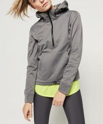 Grey half-zip hooded fleece
