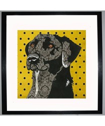 Black Labrador by UK Collage artist and illustrator Clare Thompson