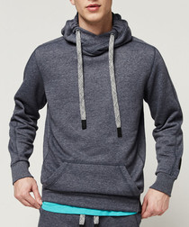 Ink blue cotton blend hoodie