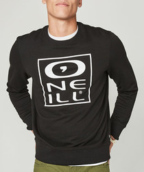 Black cotton blend crew sweatshirt