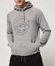 Grey cotton blend logo hoodie