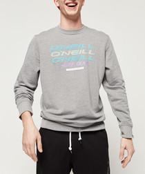 Grey cotton blend logo crew neck jumper