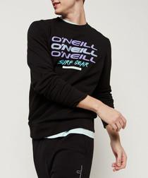 Black cotton blend logo crew neck jumper