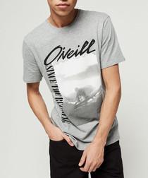 Grey organic cotton graphic T-shirt