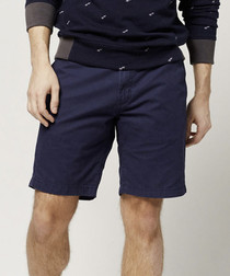 Ink blue pure cotton chino shorts
