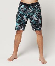 Black abstract printed shorts