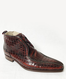 Mid-brown moc-croc leather ankle boots