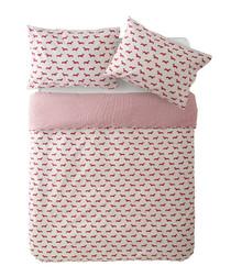 Pink dachshund double duvet set
