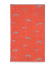 Orange Oyster Catcher cotton bath towel