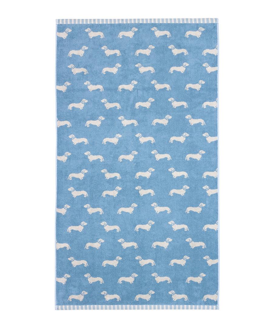 Blue Dachshund cotton bath towel Sale - Emily Bond