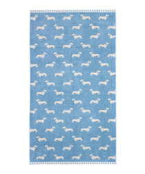 Blue Dachshund cotton bath towel
