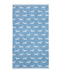 Blue Dachshund cotton bath towel