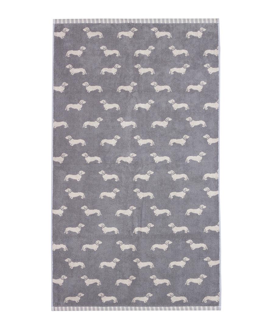 Grey Dachshund cotton bath towel Sale - Emily Bond