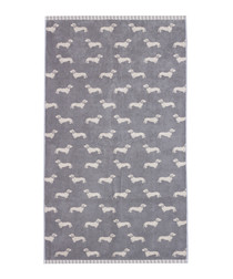 Grey Dachshund cotton bath towel