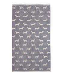 Grey Dachshund cotton bath towel