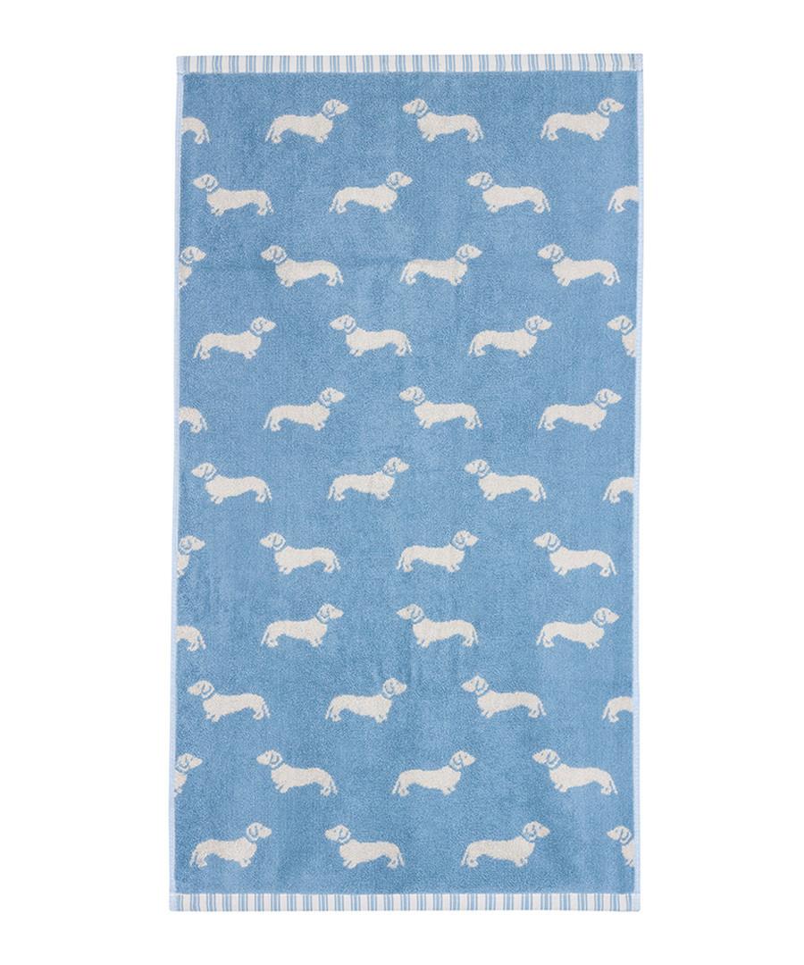 Blue Dachshund cotton hand towel Sale - Emily Bond