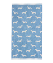 Blue Dachshund cotton hand towel