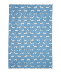 Blue Dachshund cotton sheet towel