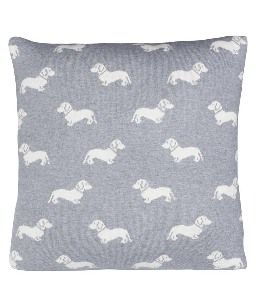 Grey Dachshund knitted cotton cushion Sale - Emily Bond